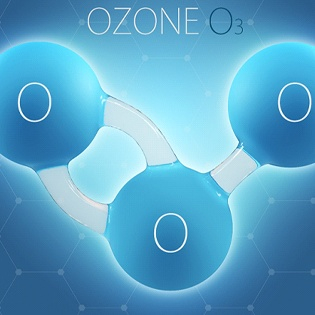 Diagram of ozone molecule made of three oxygen atoms