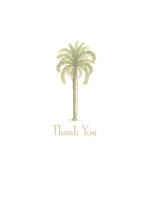 Outside of card with palm tree