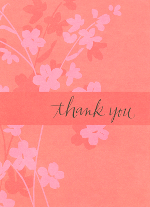 Outside of pink thank you card