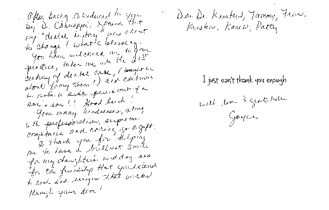 Hand written note from happy patient