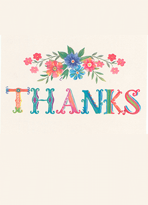 Thank you note cover with flowers